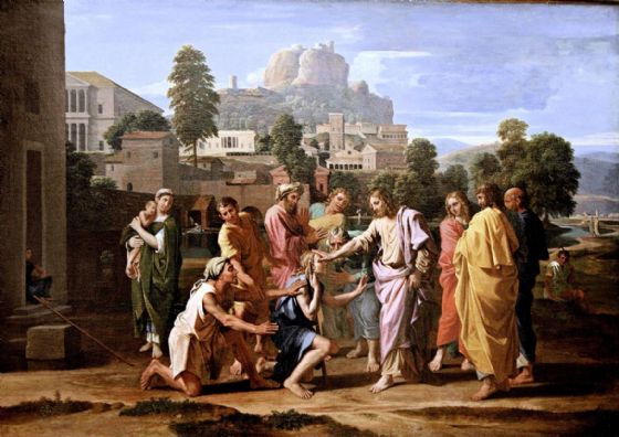 Poussin, Nicolas: The Blind of Jericho, or Christ Healing the Blind. Fine Art Print/Poster. Sizes: A1/A2/A3/A4 (003431)